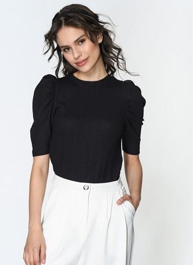 Loves You Prenses Kol Petek Doku Likralı Bluz Siyah
